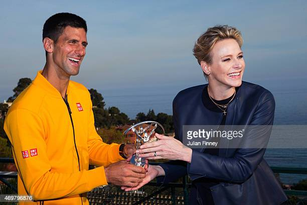 Laureus World Sportsman of the Year 2015 winner and Tennis player Novak Djokovic of Serbia receives his award from Princess Charlene of Monaco at the...