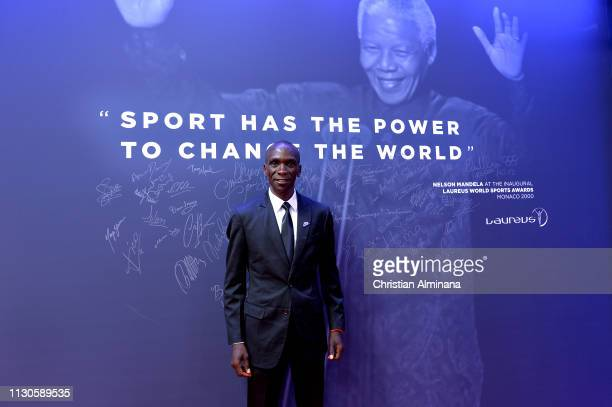 Laureus World Sportsman of The Year 2019 Nominee Eliud Kipchoge by the Nelson Mandela wall during the 2019 Laureus World Sports Awards on February 18...