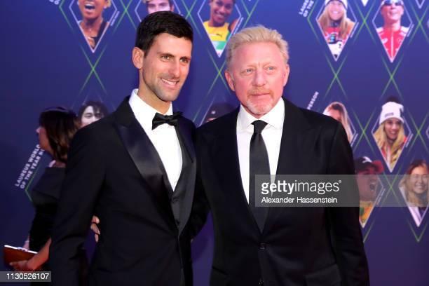 Laureus World Sportsman of The Year 2019 Nominee Novak Djokovic and Laureus Academy Member Boris Becker pose together during the 2019 Laureus World...