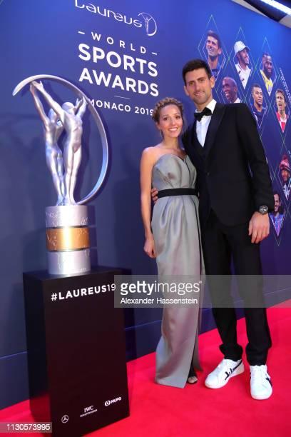 Laureus World Sportsman of The Year 2019 Nominee Novak Djokovic and wife Jelena Djokovic during the 2019 Laureus World Sports Awards on February 18...