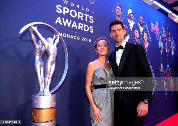 Laureus World Sportsman of The Year 2019 Nominee Novak Djokovic and wife Jelena Djokovic during the 2019 Laureus World Sports Awards on February 18,...
