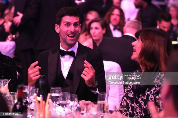 Laureus World Sportsman of The Year 2019 Nominee Novak Djokovic reacts during the 2019 Laureus World Sports Awards on February 18 2019 in Monaco...