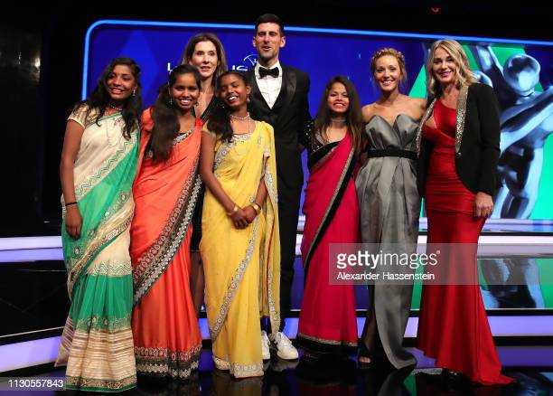 Laureus World Sportsman of The Year 2019 winner Novak Djokovic and Elena Djokovic with Laureus Academy Members Monica Seles and Nadia Comaneci with...