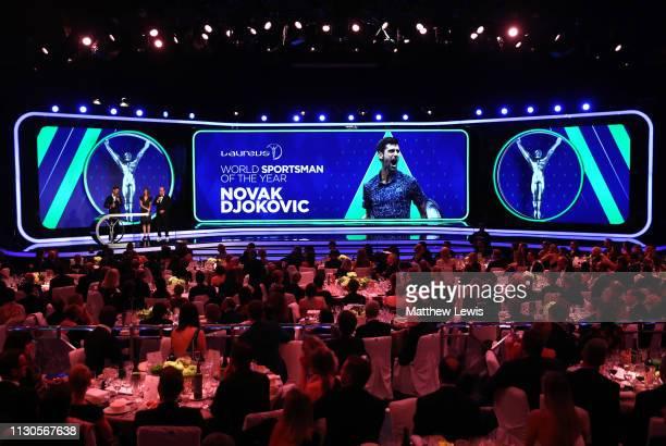 Laureus World Sportsman of The Year 2019 winner Novak Djokovic accepts his Laureus award on stage as Albert II Prince of Monaco and Laureus Academy...