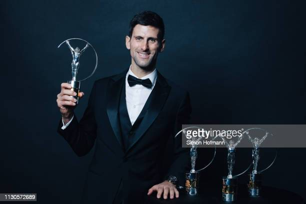 Laureus World Sportsman of The Year 2019 winner Novak Djokovic poses with all of his Laureus Awards he has won over the years on February 18 2019 in...
