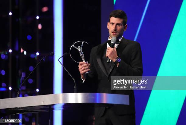 Laureus World Sportsman of The Year 2019 winner Novak Djokovic speaks on stage with his trophy during the 2019 Laureus World Sports Awards on...