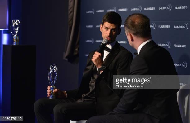 Laureus World Sportsman of The Year 2019 winner Novak Djokovic speaks at the Winners Press Conference during the 2019 Laureus World Sports Awards on...