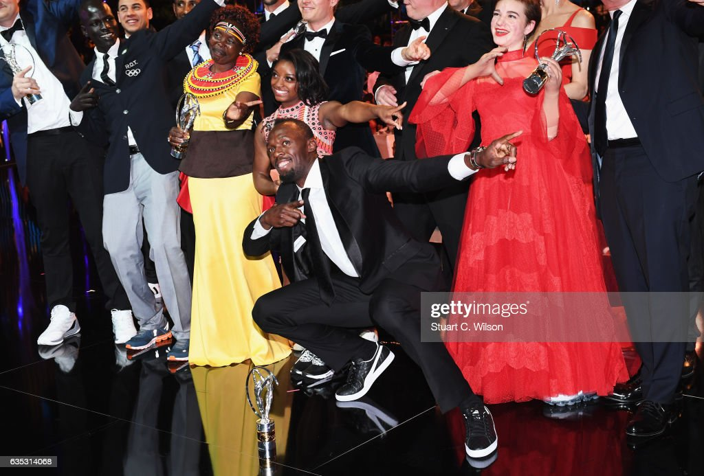 Laureus World Sportsman of the Year Award winner Usain Bolt poses with the other Laureus World Sports Awards winners pose for a selfie on stage during the 2017 Laureus World Sports Awards at the Salle des Etoiles,Sporting Monte Carlo on February 14, 2017 in Monaco, Monaco.