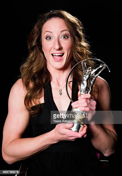 Laureus World Sportsperson of the Year 2015 with a disability winner and Wheelchair Racer Tatyana McFadden of USA poses with her award at Newman Hall...
