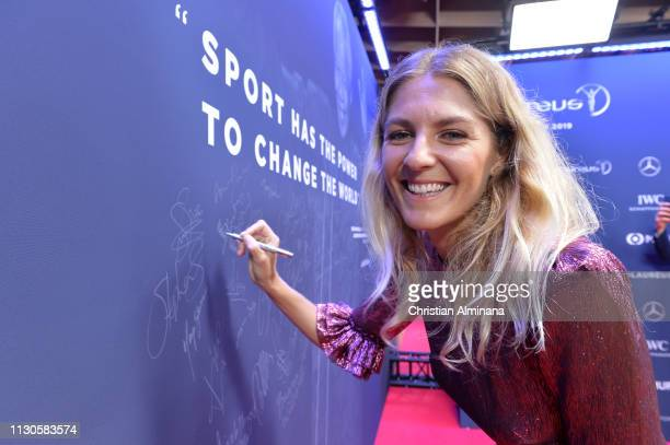 Laureus World Sportsperson of the Year 2019 nominee Stephanie Gilmore arrives at the 2019 Laureus World Sports Awards on February 18 2019 in Monaco...