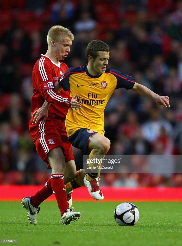 Lauri Dalla Valle of Liverpool battles with Jack Wilshere of Arsenal during the second leg of the FA Youth Cup final sponsored by E.ON, between Liverpool and Arsenal at Anfield on May 26, 2009 in Liverpool, England.