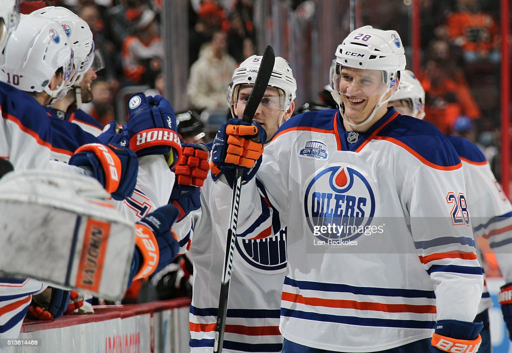 Lauri Korpikoski #28 of the Edmonton Oilers celebrates his third period short-handed goal against the Philadelphia Flyers with his teammtes on the bench on March 3, 2016 at the Wells Fargo Center in Philadelphia, Pennsylvania. The Oilers went on to defeat the Flyers 4-0.