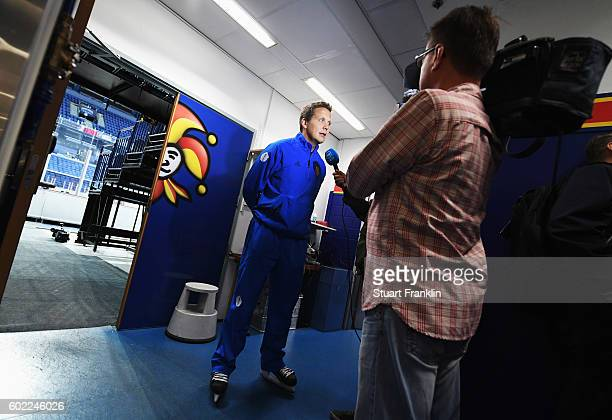 Lauri Marjamäki head coach of Finland looks on during an interview after practice for Team Finland at the Hartwell Areena on September 7 2016 in...