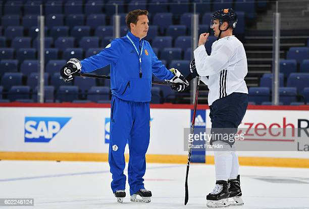 Lauri Marjamäki head coach of Finland looks on during practice for Team Finland at the Hartwell Areena on September 7 2016 in Helsinki Finland