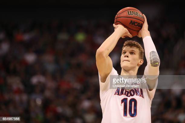 Lauri Markkanen of the Arizona Wildcats attempts a free throw against the St Mary's Gaels during the second round of the 2017 NCAA Men's Basketball...