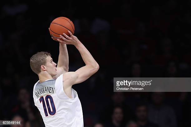 Lauri Markkanen of the Arizona Wildcats attemts a shot against the Cal State Bakersfield Roadrunners during the second half of the college basketball...