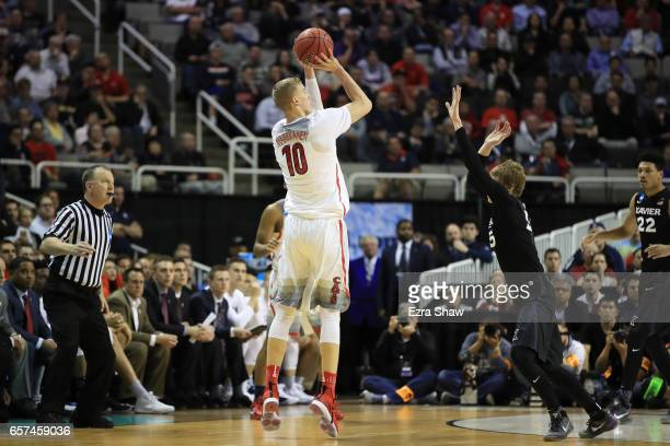 Lauri Markkanen of the Arizona Wildcats shoots against the Xavier Musketeers during the 2017 NCAA Men's Basketball Tournament West Regional at SAP...