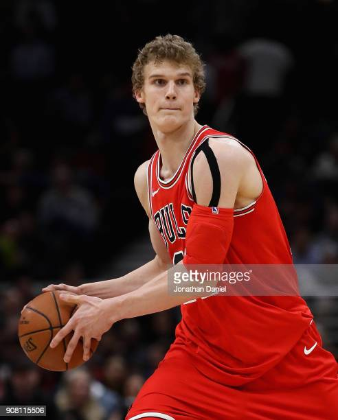 Lauri Markkanen of the Chicago BuJerian Grant of the Chicago Bulls looks to pass against the Golden State Warriors at the United Center on January 17...