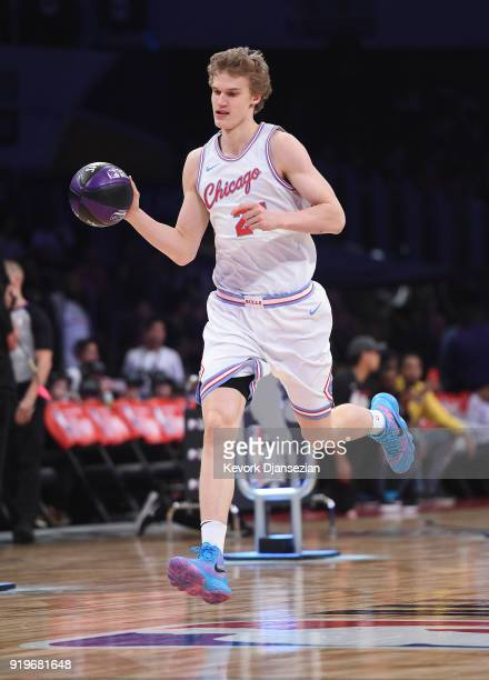 Lauri Markkanen of the Chicago Bulls competes in the 2018 Taco Bell Skills Challenge at Staples Center on February 17 2018 in Los Angeles California