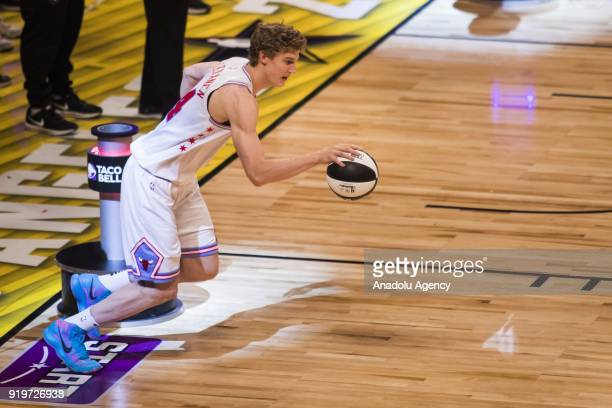 Lauri Markkanen of the Chicago Bulls competes in the Taco Bell Skills Contest during State Farm AllStar Saturday Night as part of AllStar Weekend at...