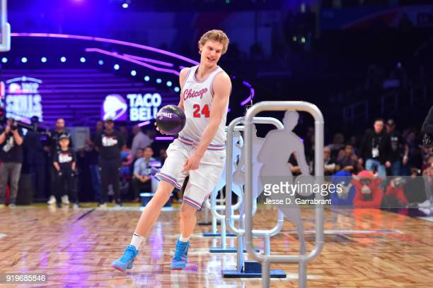 Lauri Markkanen of the Chicago Bulls dribbles the ball during the Taco Bell Skills Challenge during State Farm AllStar Saturday Night as part of the...