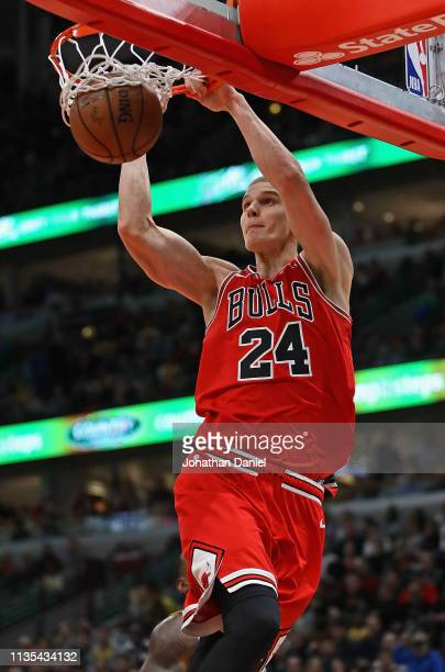 Lauri Markkanen of the Chicago Bulls dunks against the Los Angeles Lakers at the United Center on March 12 2019 in Chicago Illinois The Lakers...