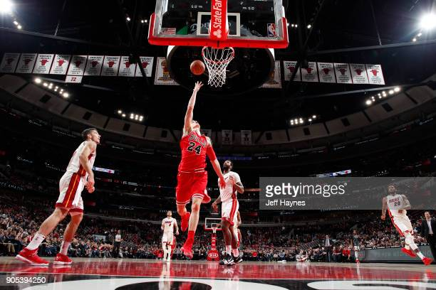 Lauri Markkanen of the Chicago Bulls dunks against the Miami Heat on January 15 2018 at the United Center in Chicago Illinois NOTE TO USER User...