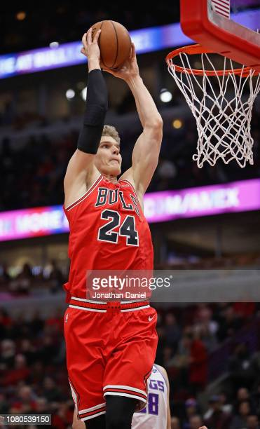 Lauri Markkanen of the Chicago Bulls dunks against the Sacramento Kings at the United Center on December 10 2018 in Chicago Illinois NOTE TO USER...