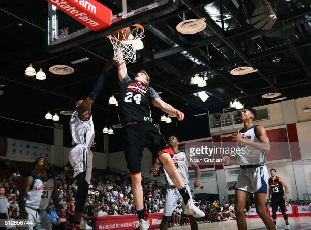 Lauri Markkanen of the Chicago Bulls dunks against the Washington Wizards during the 2017 Summer League on July 11 2017 at Cox Pavillion in Las Vegas...
