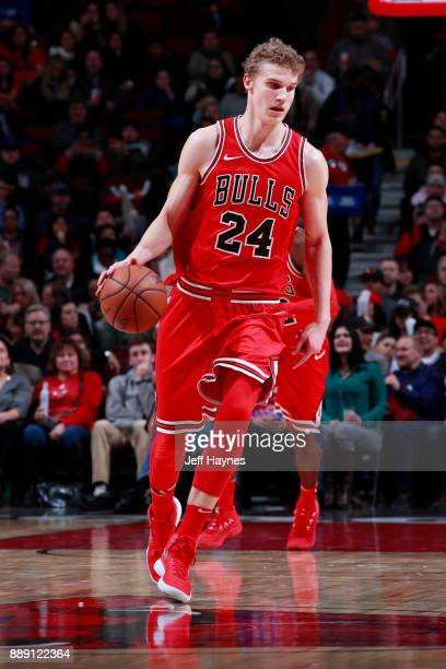 Lauri Markkanen of the Chicago Bulls handles the ball against the New York Knicks on December 9 2017 at the United Center in Chicago Illinois NOTE TO...