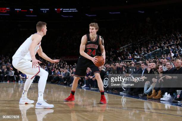 Lauri Markkanen of the Chicago Bulls handles the ball against the New York Knicks on January 10 2018 at Madison Square Garden in New York City New...