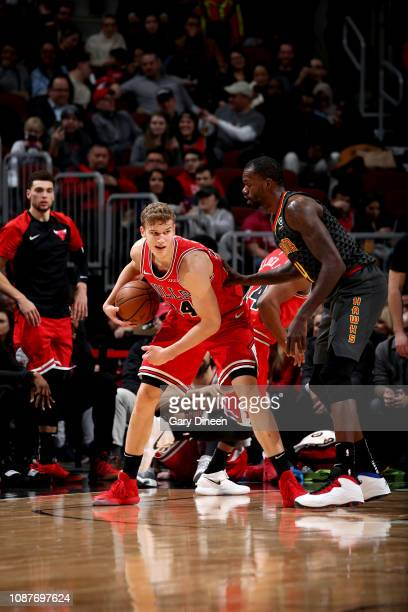 Lauri Markkanen of the Chicago Bulls handles the ball against the Atlanta Hawks on January 23 2019 at the United Center in Chicago Illinois NOTE TO...