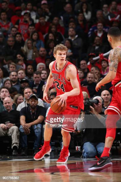 Lauri Markkanen of the Chicago Bulls handles the ball against the Houston Rockets on January 8 2018 at the United Center in Chicago Illinois NOTE TO...
