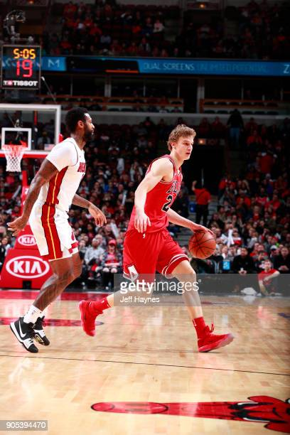 Lauri Markkanen of the Chicago Bulls handles the ball against the Miami Heat on January 15 2018 at the United Center in Chicago Illinois NOTE TO USER...