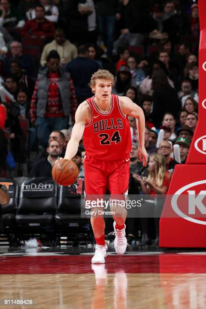 Lauri Markkanen of the Chicago Bulls handles the ball against the Milwaukee Bucks on January 28 2018 at the United Center in Chicago Illinois NOTE TO...