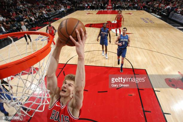 Lauri Markkanen of the Chicago Bulls handles the ball against the Orlando Magic on February 12 2018 at the United Center in Chicago Illinois NOTE TO...