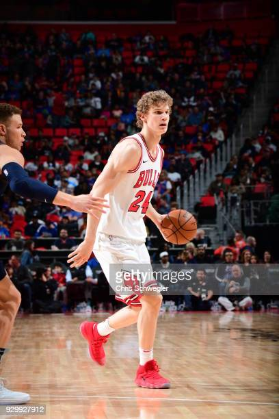 Lauri Markkanen of the Chicago Bulls handles the ball against the Detroit Pistons on March 9 2018 at Little Caesars Arena in Detroit Michigan NOTE TO...