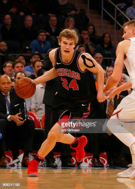 Lauri Markkanen of the Chicago Bulls in action against the New York Knicks at Madison Square Garden on January 10 2018 in New York City The Bulls...