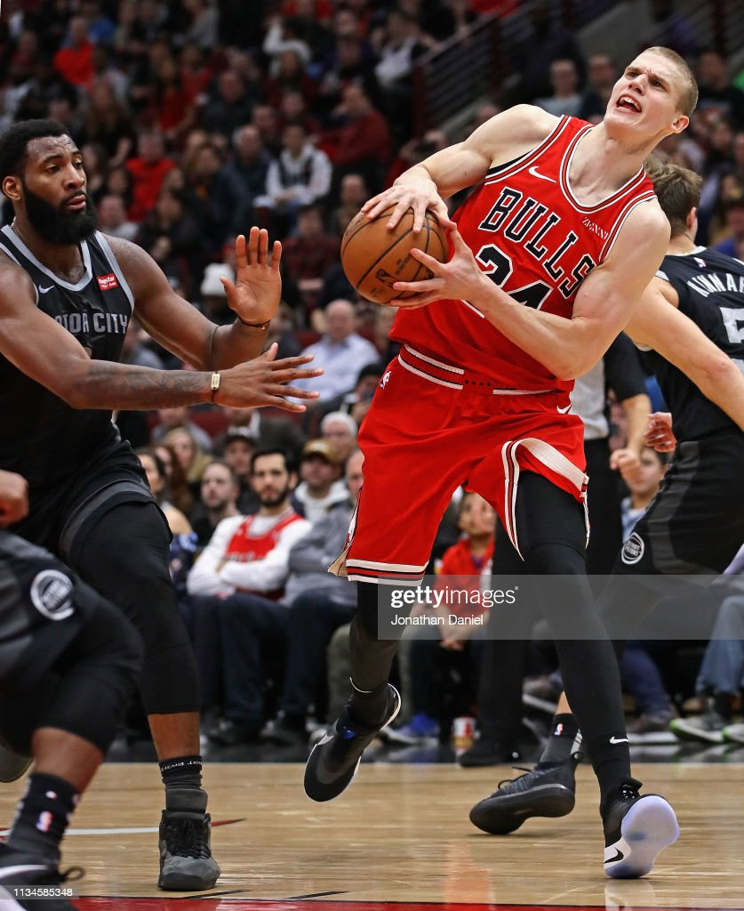 Lauri Markkanen of the Chicago Bulls is fouled Andre