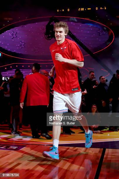 Lauri Markkanen of the Chicago Bulls is introduced before the Taco Bell Skills Challenge during State Farm AllStar Saturday Night as part of the 2018...