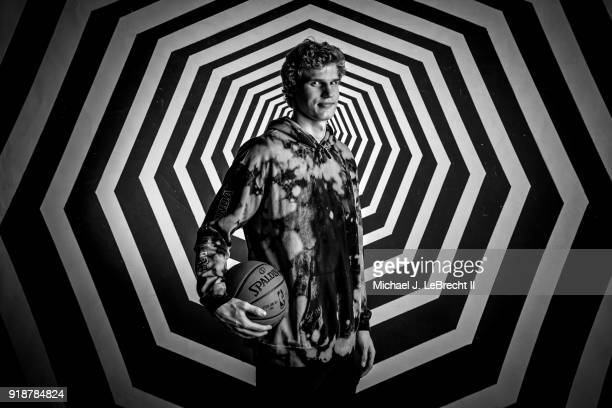 Lauri Markkanen of the Chicago Bulls poses for a portrait as part of the 2018 NBA AllStar Weekend on February 15 2018 at the Mariott in Los Angeles...