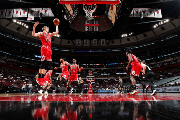Lauri Markkanen of the Chicago Bulls rebounds against the Milwaukee Bucks on May 16, 2021 at United Center in Chicago, Illinois. NOTE TO USER: User...