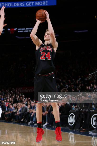 Lauri Markkanen of the Chicago Bulls shoots the ball against the New York Knicks on January 10 2018 at Madison Square Garden in New York City New...