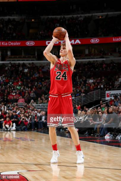 Lauri Markkanen of the Chicago Bulls shoots the ball against the Milwaukee Bucks on January 28 2018 at the United Center in Chicago Illinois NOTE TO...