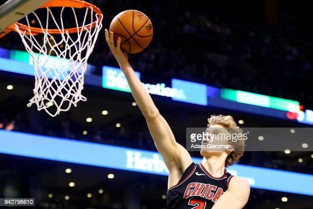Lauri Markkanen of the Chicago Bulls shoots the ball during a game against the Boston Celtics at TD Garden on April 6 2018 in Boston Massachusetts...