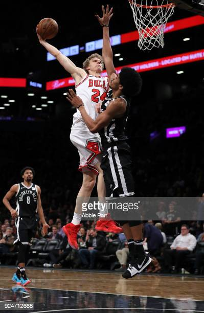 Lauri Markkanen of the Chicago Bulls takes a shot against Jarrett Allen of the Brooklyn Nets in the third quarter during their game at Barclays...