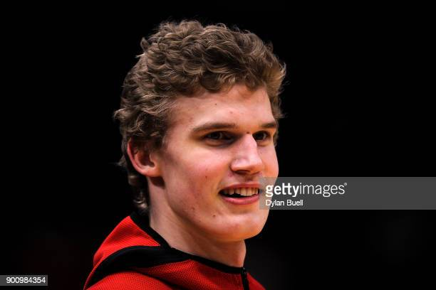 Lauri Markkanen of the Chicago Bulls warms up before the game against the Portland Trail Blazers at the United Center on January 1 2018 in Chicago...
