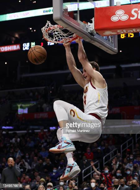 Lauri Markkanen of the Cleveland Cavaliers makes a slam dunk against the LA Clippers in the second quarter at Staples Center on October 27, 2021 in...