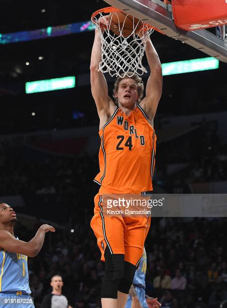 Lauri Markkanen of the World Team dunks during the 2018 Mountain Dew Kickstart Rising Stars Game at Staples Center on February 16 2018 in Los Angeles...