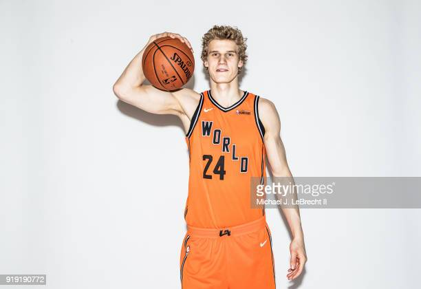 Lauri Markkanen of the World team poses for a portrait prior to the Mountain Dew Kickstart Rising Stars Game during AllStar Friday Night as part of...